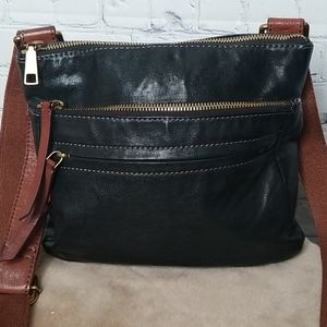 Fossil balck and brown crossbody bag